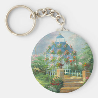Painting Of A Flower Covered Gazebo In Summer Keychain