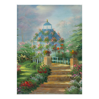 Painting Of A Flower Covered Gazebo In Summer Poster