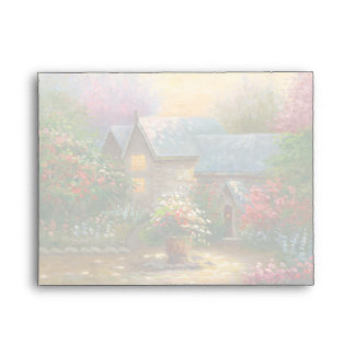 Painting Of A Flowered Country Home Envelope