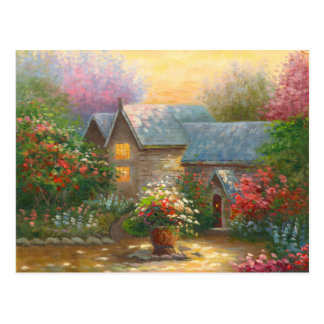 Painting Of A Flowered Country Home Post Card