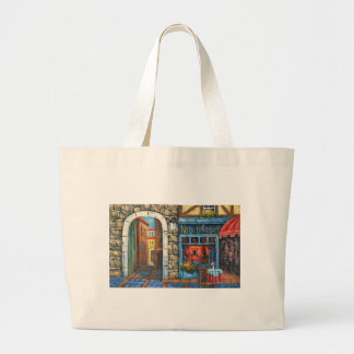 Painting Of A French Restaurant Canvas Bags
