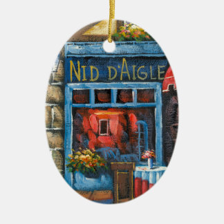 Painting Of A French Restaurant Ceramic Ornament