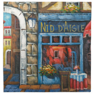 Painting Of A French Restaurant Cloth Napkins