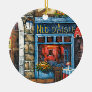 Painting Of A French Restaurant Double-Sided Ceramic Round Christmas Ornament