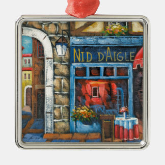 Painting Of A French Restaurant Square Metal Christmas Ornament