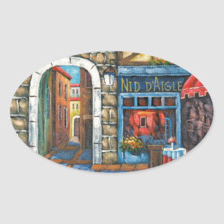 Painting Of A French Restaurant Oval Sticker