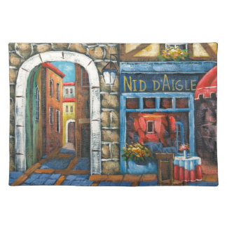 Painting Of A French Restaurant Cloth Placemat