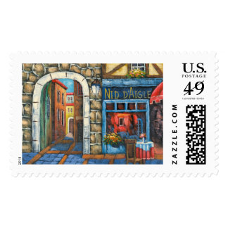 Painting Of A French Restaurant Postage Stamps