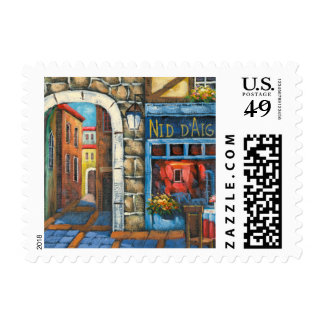 Painting Of A French Restaurant Postage