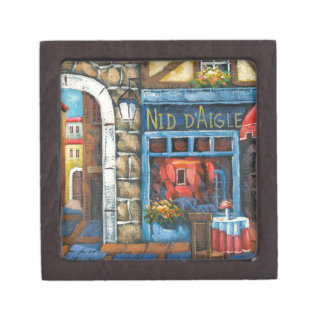 Painting Of A French Restaurant Premium Keepsake Boxes