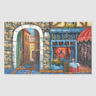 Painting Of A French Restaurant Rectangular Sticker