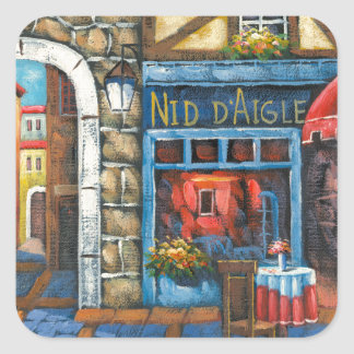 Painting Of A French Restaurant Square Sticker