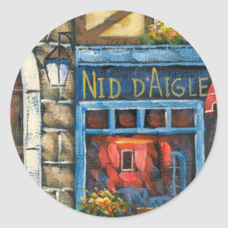 Painting Of A French Restaurant Classic Round Sticker
