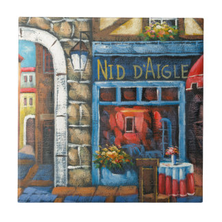 Painting Of A French Restaurant Ceramic Tiles