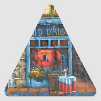 Painting Of A French Restaurant Triangle Sticker