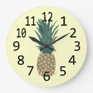 Painting of a fresh Pineapple Wall Clocks