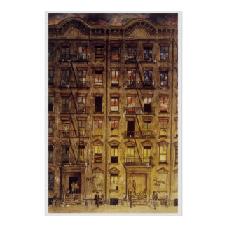 Painting of a Harlem tenement block Poster