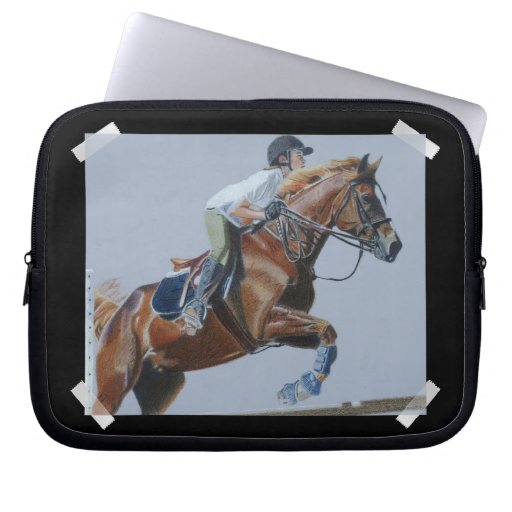 Painting of a Hunter/Jumper Horse & Rider Laptop S Laptop Sleeve