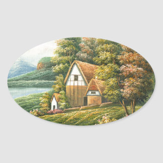 Painting Of A Lakeside Cottage Oval Sticker