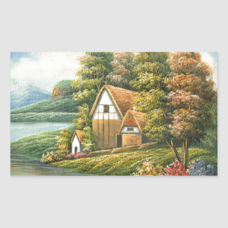 Painting Of A Lakeside Cottage Sticker