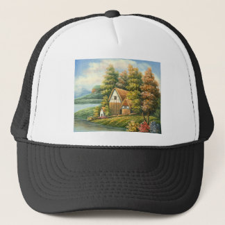 Painting Of A Lakeside Cottage Trucker Hat
