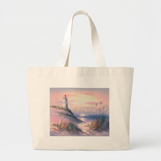 Painting Of A Lighthouse At Dawn Canvas Bags
