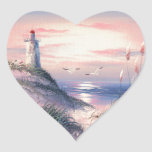 Painting Of A Lighthouse At Dawn Heart Stickers
