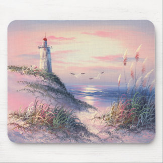 Painting Of A Lighthouse At Dawn Mouse Pads