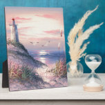 Painting Of A Lighthouse At Dawn Plaque