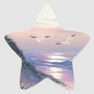 Painting Of A Lighthouse At Dawn Star Sticker