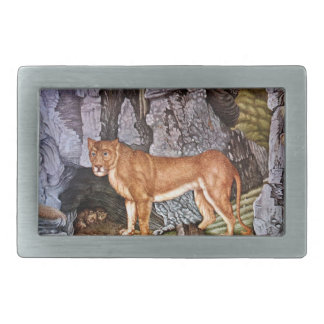 Painting of a Lioness by Aloys Zotyl Rectangular Belt Buckle