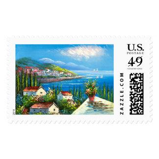 Painting Of A Mediterranean Seaside Village Postage
