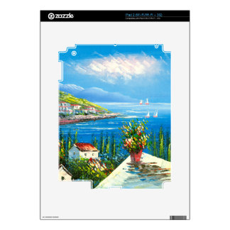 Painting Of A Mediterranean Seaside Village Decals For The iPad 2