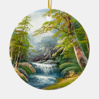 Painting Of A Mini Waterfall Ceramic Ornament