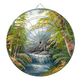 Painting Of A Mini Waterfall Dartboard With Darts