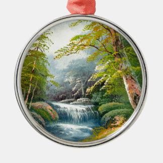 Painting Of A Mini Waterfall Metal Ornament
