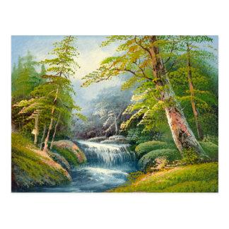 Painting Of A Mini Waterfall Postcard