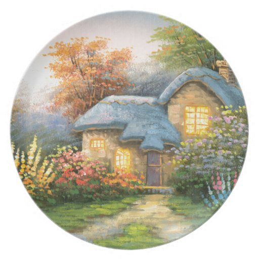 Painting Of A Private Cottage Party Plate