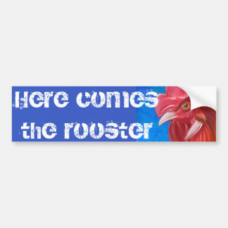 Painting of a Red Rooster in Vibrant Colors Bumper Sticker