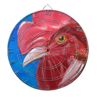 Painting of a Red Rooster in Vibrant Colors Dart Board