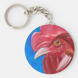 Painting of a Red Rooster in Vibrant Colors Keychain