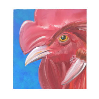 Painting of a Red Rooster in Vibrant Colors Memo Notepad