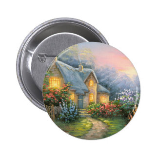 Painting Of A Rustic Fantasy Cottage Pinback Button