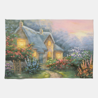 Painting Of A Rustic Fantasy Cottage Hand Towels
