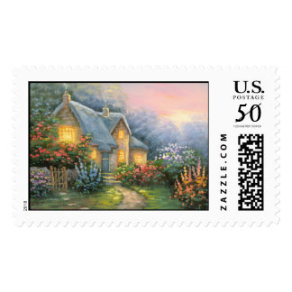 Painting Of A Rustic Fantasy Cottage Postage