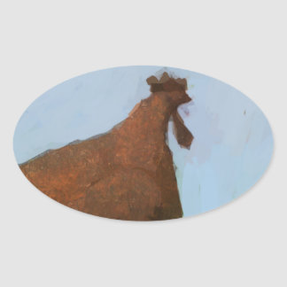 Painting of a rusty red chicken on blue oval sticker