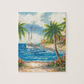 Painting Of A Sailboat In Hawaii Jigsaw Puzzle