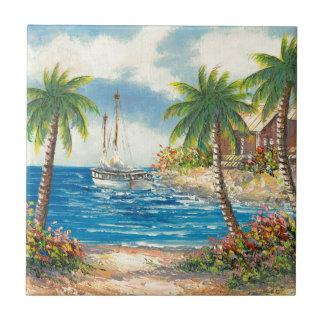 Painting Of A Sailboat In Hawaii Small Square Tile