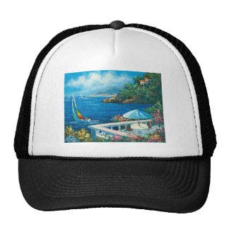 Painting Of A Sailboat Mesh Hats