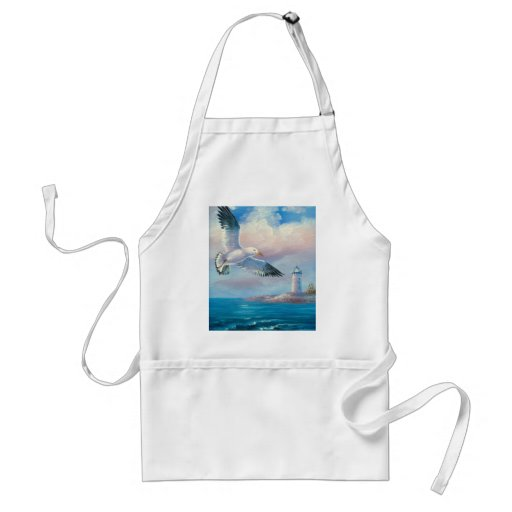 Painting Of A Seagull Flying Near A Lighthouse Adult Apron